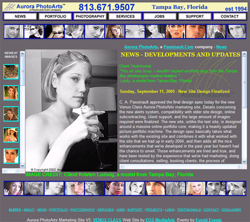 The original Venus Class marketing and support site for Aurora PhotoArts, launched on September 16, 2005. This was one of the first 3rd generation web sites, and was the 5th Aurora PhotoArts web site.